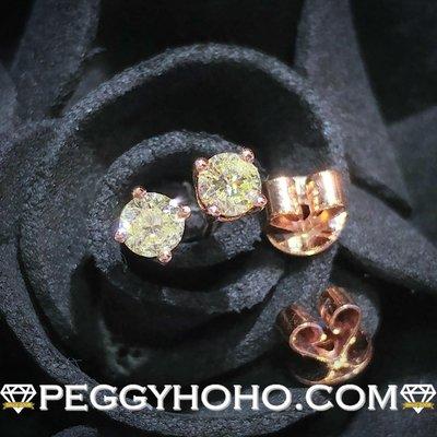 【Peggyhoho】全新18K玫瑰金32份4爪真鑽石耳環一對|玫瑰金耳環|超值長青