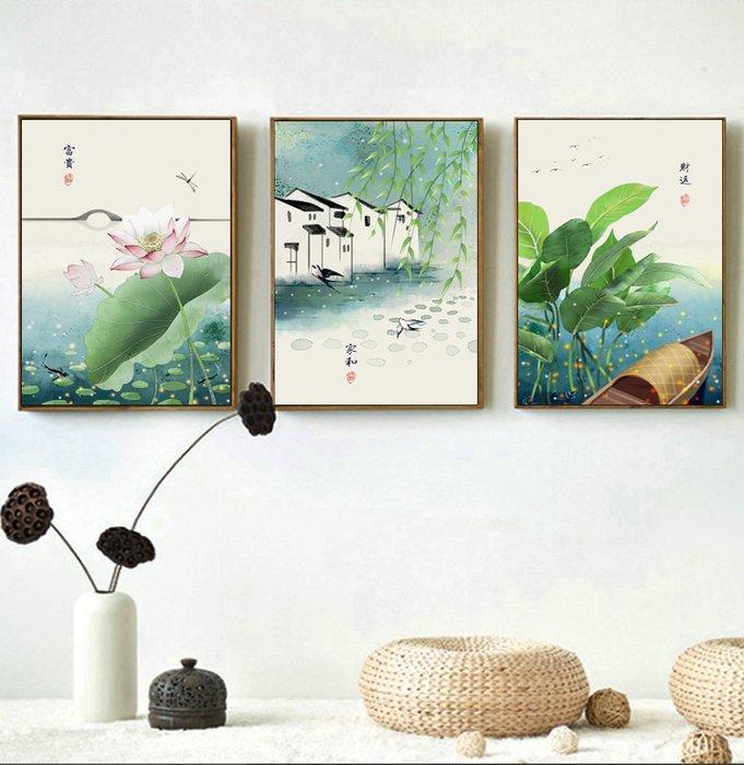 三幅一組油畫布 新中式現代民俗古風(3) 畫芯/畫布/30X40☺暖暖屋☺傢居藝術館