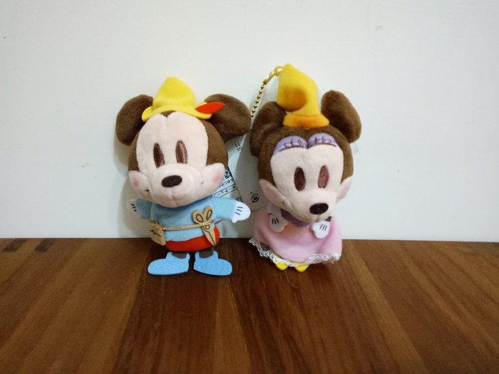 天使熊雜貨小舖~日本迪士尼帶回米奇&米妮絨毛娃娃  珠扣吊飾  全新現貨