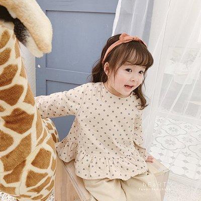 【可愛村】 韓系木耳邊圓點襯衫上衣 童裝 長袖上衣