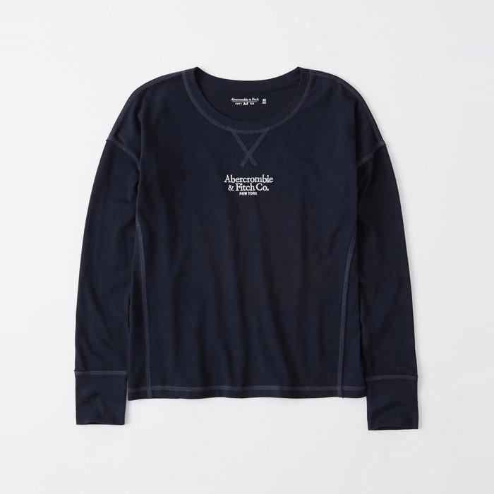 【Abercrombie&Fitch】【A&F】AF女款長袖T恤三排白小字黑藍 F07191118-63