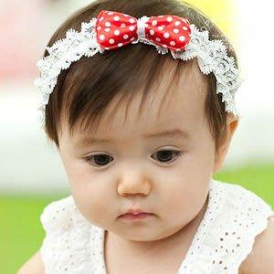 BHL002-韓國POPKID韓劇童星愛用品牌 可愛點點蝴蝶結蕾絲嬰兒童髮帶【現貨】韓國製