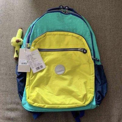 Kipling 猴子包 K21305 黃綠拼色 拉鍊款輕量雙肩後背包 電腦包 大款 限時優惠 防水