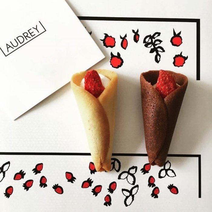 預購 日本排隊名店AUDREY草莓甜筒捲餅 -5入