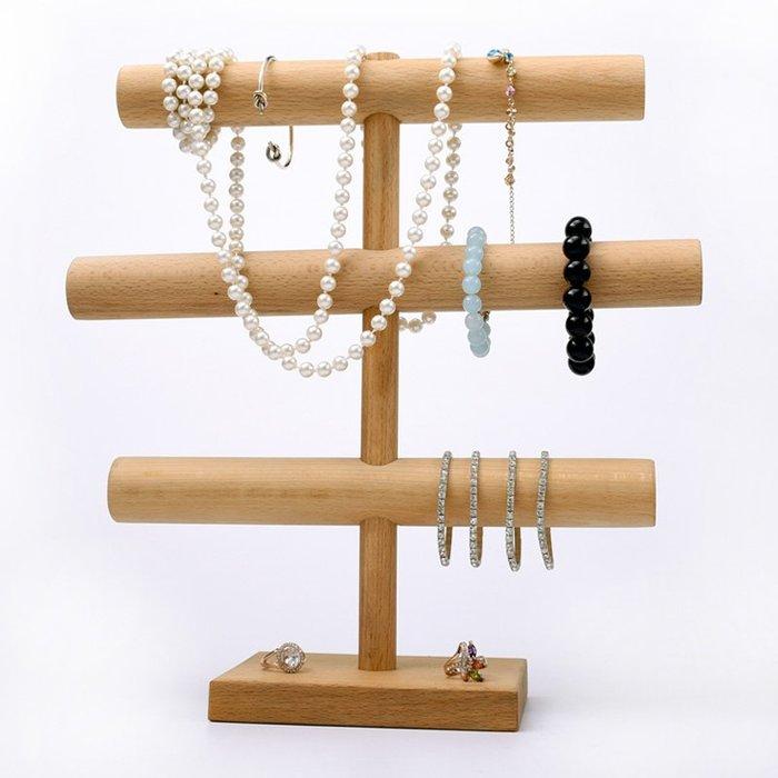 聚吉小屋 #櫸木首飾架手鐲架原木飾品展示架項鏈架佛珠展示可拆手鐲架