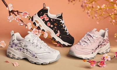 Skechers女士厚底老爹鞋時尚花卉刺繡運動鞋1尺碼35-40