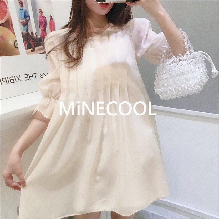 MiNE SHOP韓國 M9620-7實拍 寬鬆泡泡袖娃娃裙連衣裙 兩色 均碼