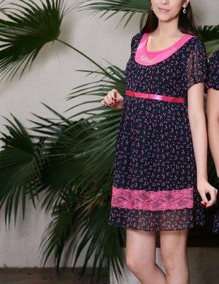 ☆╮十月美人╭☆只賣99元【9875】氣質甜美的春日印花洋裝~黑
