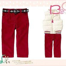 【B& G童裝】正品美國進口Crazy8花朵圖樣織帶紅色燈芯絨長褲4yrs