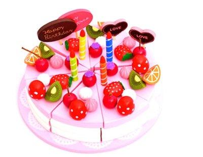【晴晴百寶盒】木製仿真粉色蛋糕切切樂 家家酒 角色扮演 親子早教 益智遊戲玩具 平價促銷 禮物禮品 CP值高 P059