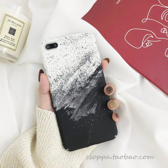 簡約黑白藝術蘋果x手機殼iPhone8/7plus全包磨砂硬殼6s個性男女款