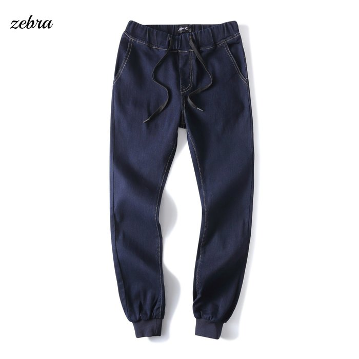 ZEBRA-【FK4170】韓版 2色 素面 厚磅 腰間 抽繩 彈性 束口褲 牛仔長褲 30/36 特價 480元