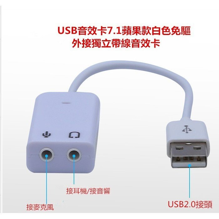 USB音效卡7.1蘋果款白色免驅win7筆電/桌機電腦外接獨立帶線音效卡專治音效卡無聲/聲音斷續舊主板福音插上就可使用