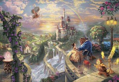 缺 日本進口拼圖 迪士尼 公主與王子 美女與野獸 貝兒 1000片拼圖 1000-487