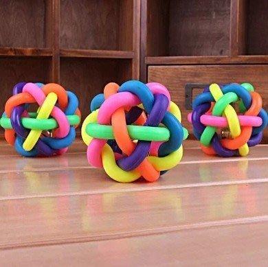 狗玩具 寵物橡膠球 七彩球鈴鐺 耐咬球 狗狗彈力球 小號 6CM【神來也】