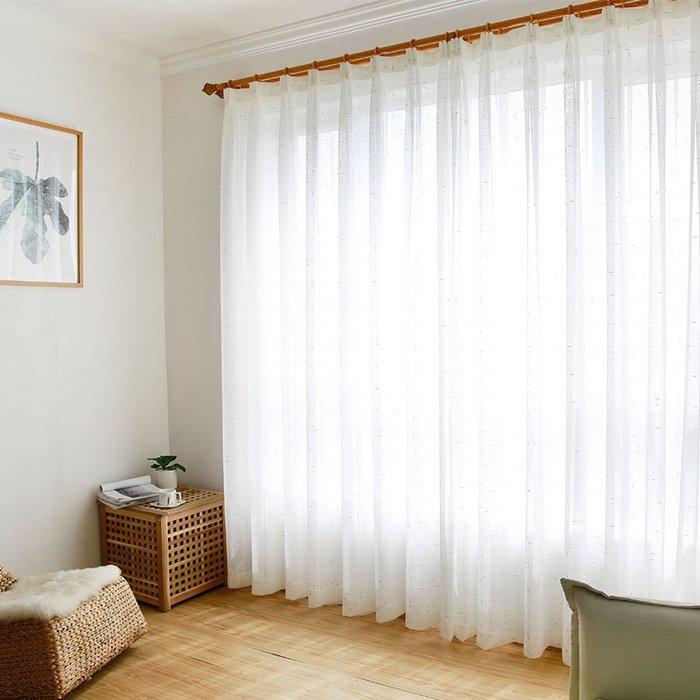 創意 居家裝飾 成品特價窗簾布料清倉簡約臥室書房陽臺紗百搭亞麻白色窗紗