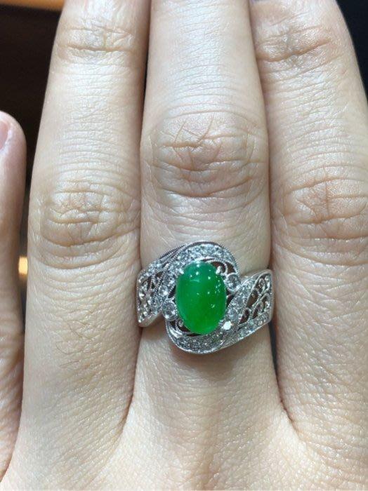 天然A貨翡翠鑽石戒指,古典拉花款式,超值優惠價38800,加送鑑定書,翡翠鮮綠漂亮水頭棒