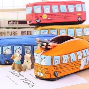 【拉拉Lalas shop】創意學生文具小動物巴士筆袋 公交鉛筆盒 男女帆布大容量文具盒$45