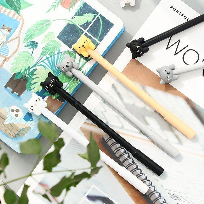 ❤❤心生活創意禮品館❤❤ (12入)超萌 可愛 貓咪原子筆  創意0.5mm黑色中性筆 學生文具