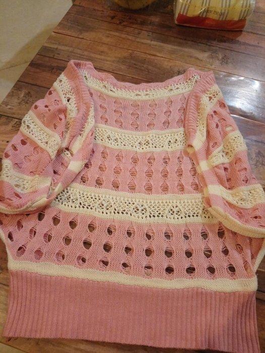 針織洞洞罩衫 胸圍平量41公分 衣長50公分