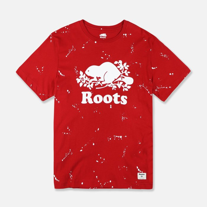 【Roots】男款短袖T恤白潑漆白海貍字紅 F11190712-01