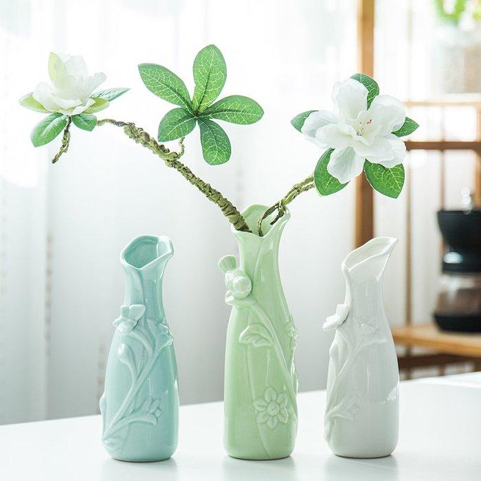 爆款創意簡約小清新花瓶擺件家用中式客廳滿天星干花插花桌面裝飾瓷器#簡約#陶瓷#小清新
