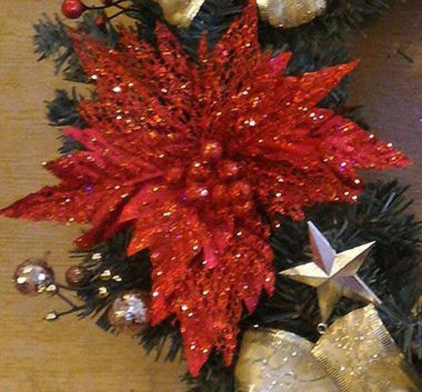 【洋洋小品-A聖誕紅花金】桃園平鎮中壢聖誕節花圈.聖誕樹藤佈置聖誕節佈置/聖誕藤圈/聖誕衣/聖誕帽金蔥聖誕紅/聖誕花