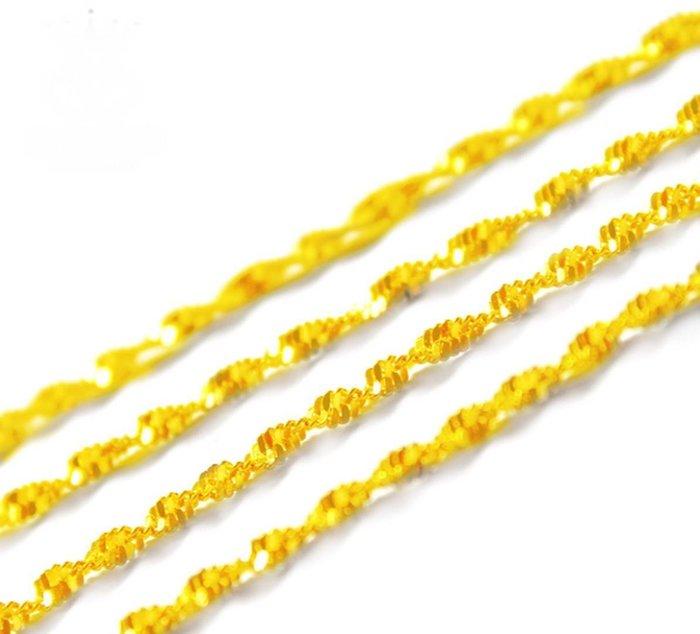 8號1002寬約2mm長47公分歐幣女士水波鏈飾品 黃銅金模擬金首飾爆款項鍊