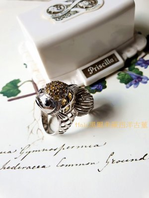 黑爾典藏西洋古董 ~純 925銀 奢華鑲嵌XO濃郁黃寶石立體可愛錦鯉銀戒~特殊絕版訂製款