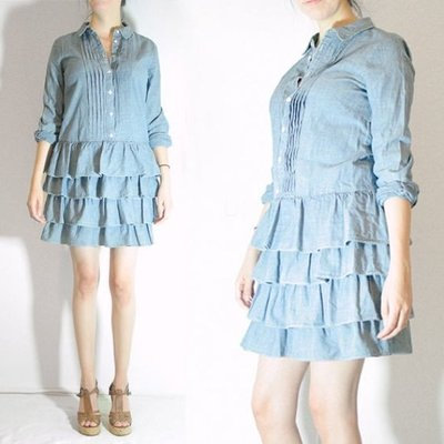 J. Crew牛仔洋裝~J.Crew Ruffled Denim Dress