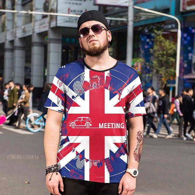 FINDSENSE品牌監製 大尺碼男裝 英國國旗圖案T3D印花薄款個性短袖夏季男大尺碼寬鬆透氣T恤速乾排汗T