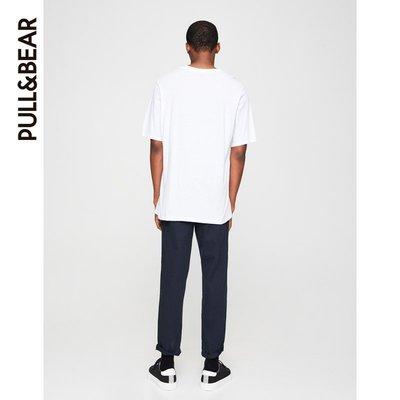 PULL&BEAR 短袖t恤 男Mixtape Palladium印字白色T恤 09242582