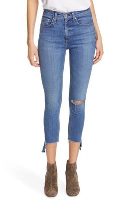 Rag & Bone Nina High Waist Raw Step Hem Crop Skinny Jeans 24