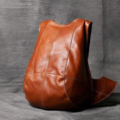 後背包真皮雙肩包-純色牛皮休閒防盜男女包包2色73vz20[獨家進口][米蘭精品]