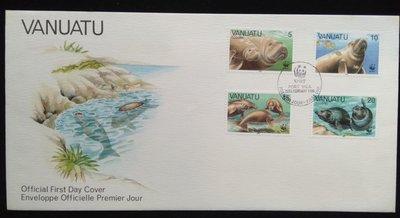 WWF萬那杜郵票(W97)儒艮郵票熊貓麥郵票限量首日封1988年2月29日發行特價