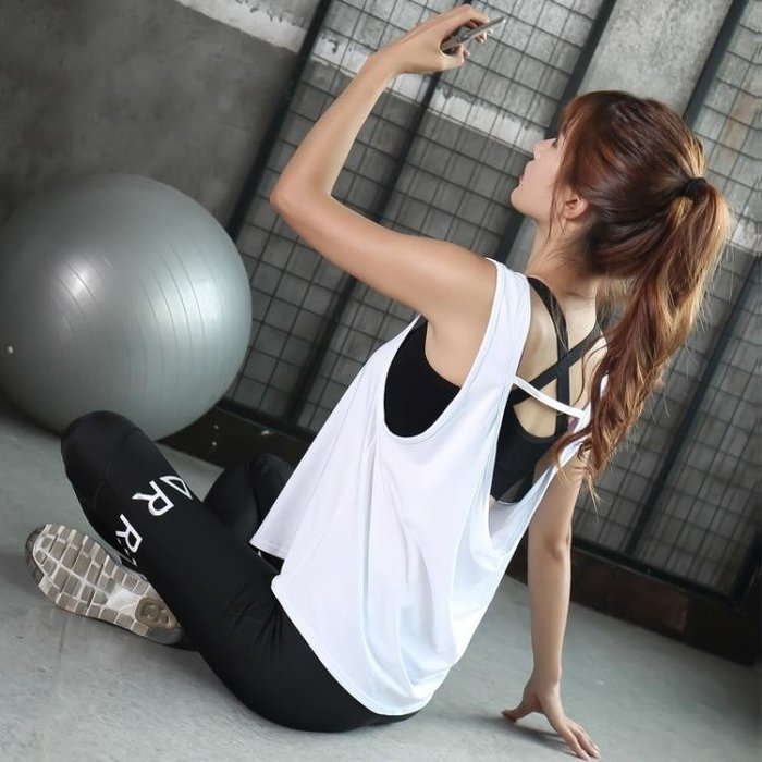 健身套裝女健身房跑步服初學者性感寬鬆速乾衣網紅瑜伽服運動套裝    麻吉鋪