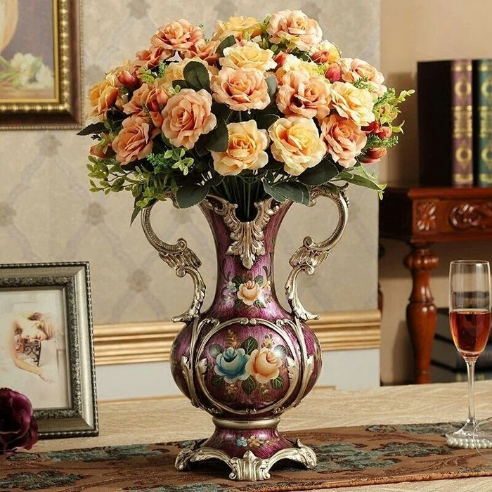 粉紅玫瑰精品屋~歐式高檔宮廷風紫色魅惑花瓶擺設~