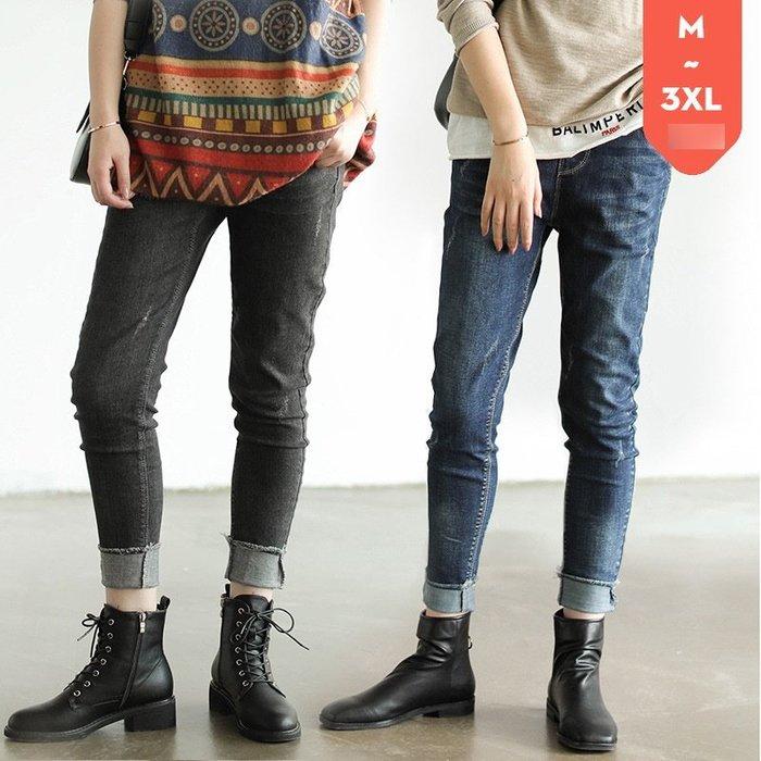 彈性鉛筆褲/百搭顯瘦鬆緊腰洗舊牛仔褲(老銀屋)