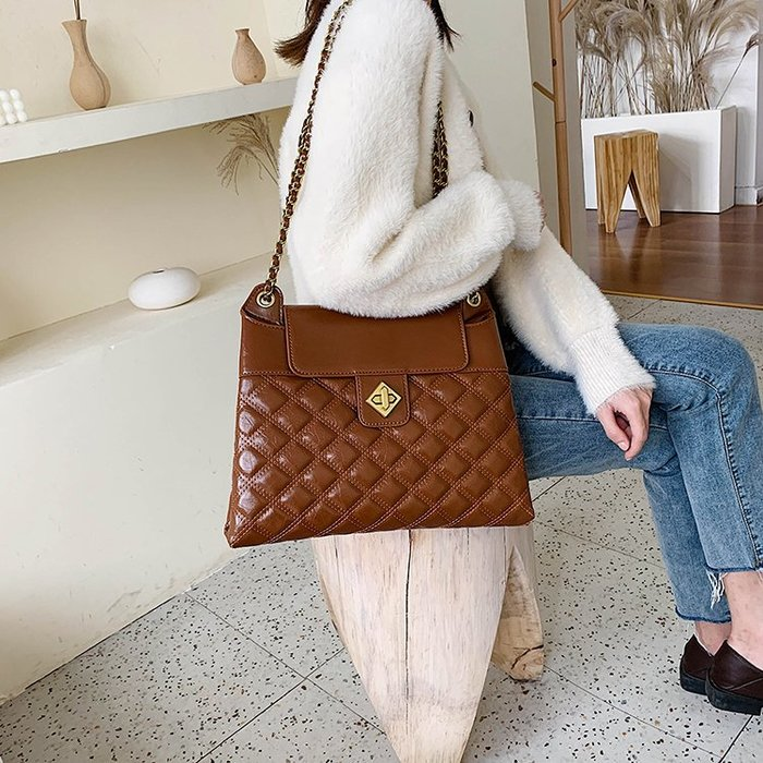 FINDSENSE X 韓國 女士 時尚百搭 大容量 多功能菱格包 斜挎包 側背包 單肩包