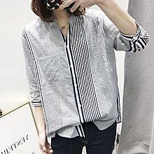 NANAS【BL41198】率性簡約~氣質豎條紋七分袖棉質襯衫 特價 預購