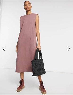 (嫻嫻屋) 英國ASOS-Weekday紅褐色圓領無袖寬鬆造型中長裙洋裝SA21