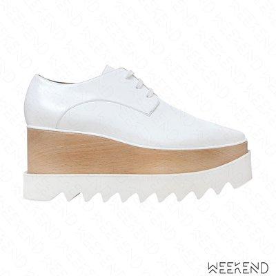 【WEEKEND】 STELLA MCCARTNEY Elyse 厚底 楔形 皮革 牛津鞋 白色