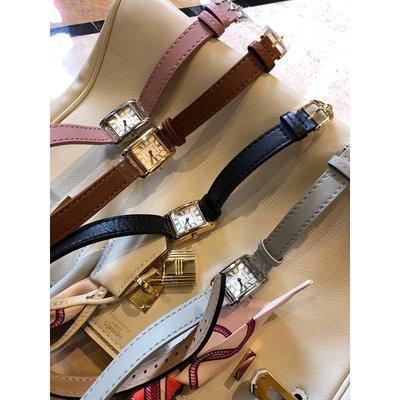 《巴黎拜金女》高品質復古雙圈牛皮方形手錶
