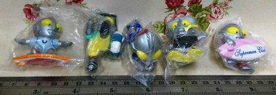 龍廬-自藏二手出清~公仔-鹹蛋超人衝浪板潛水員救生員造型公仔擺飾5款一套/不拆售
