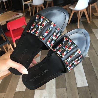 2018夏季新品韓版女鞋子流行彩鉆時尚平跟一字型拖鞋外穿平底涼拖