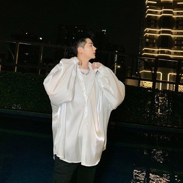 FINDSENSE 2019 秋季上新 G19 復古時尚絲質寬鬆長袖襯衫素面襯衫 男裝 亮面上衣