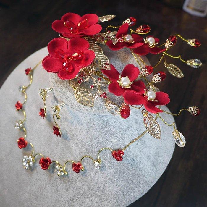 爆款--新娘頭飾紅色敬酒禮服發飾新款韓式頭花結婚項鏈耳環套裝#新娘用品#頭飾#復古#手工藝品