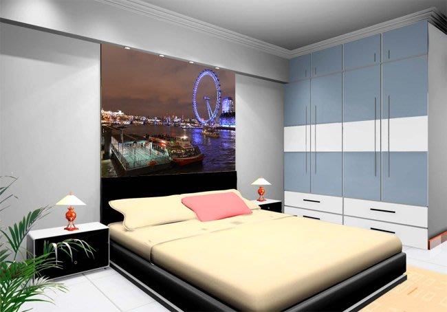 客製化壁貼 店面保障 編號F-438 倫敦眼風景 壁紙 牆貼 牆紙 壁畫 星瑞 shing ruei