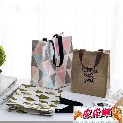手提袋帆布袋女便攜購物袋學生補習書袋飯盒袋折疊防水環保便當包【皮皮蝦】