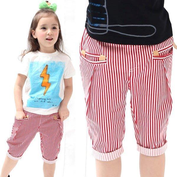 【班比納精品童裝】微彈性亮色條紋外出褲-紅【BD150608006】